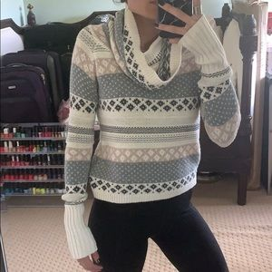 Cropped turtle neck pink blue white cream sweater